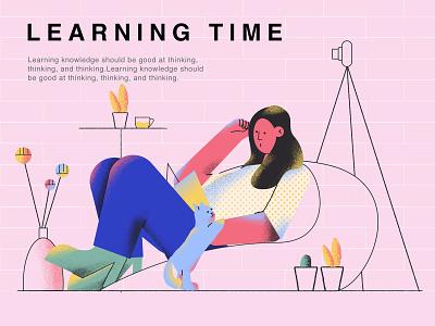 happy learning 插画 设计 ui 杂色 植物 panda plant design illustration life reading learn