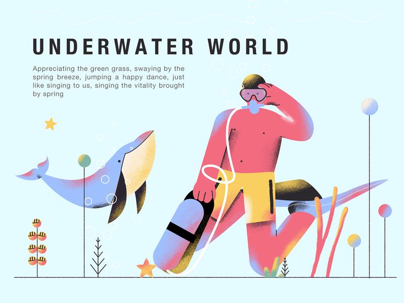 Underwater World illustration motley dolphin swim summer diver diving underwater world 植物 熊猫 人物 插图 包装 设计 插画 ui