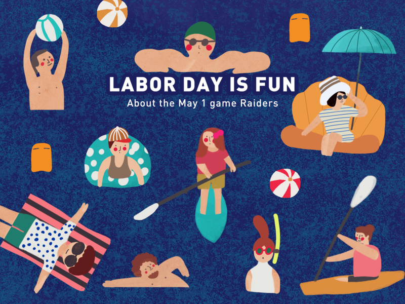 Labor day 插画 panda design illustration ui opening page startup page pop-ups landscape beach ball tourism swim sea beach labor day