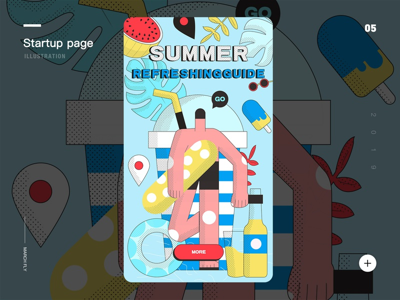 App startup page plant vector character y园糖 panda design illustration ui diving seaside beach summer camp app startup page watermelon cool summer