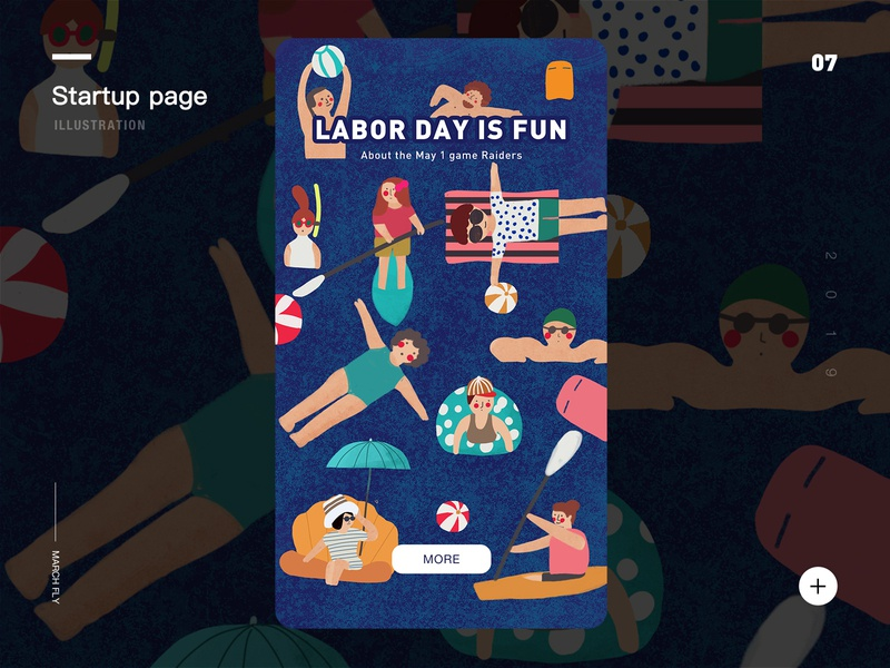happy vacation design plant panda illustration 插画 ui app startup page seaside play games diving swim vacation
