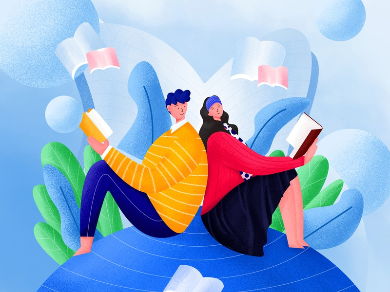 Reading day love learn book flat wind vector wind vector wind panda design 插画 plant activity page illustration couple reading