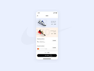 Nike - Store app concept - Checkout ui shoes shipping payment ux store shop product motion minimal interaction ecommerce concept after affects animation ios app