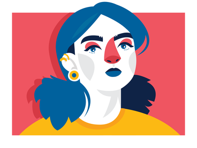 La Strada: Ela strong poznan poland girlpower girl femenine face character concept character vector illustrator design flat illustration yellow red blue