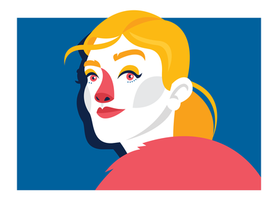 La Strada: Ola yellow strong red poznan poland girlpower girl femenine face character concept character blue vector illustrator illustration flat design