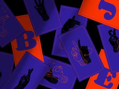Give me a sign! illustrate deaf illustration photoshop poland polish sign language game movement hands hand letter alphabet sign language sign design cards orange blue