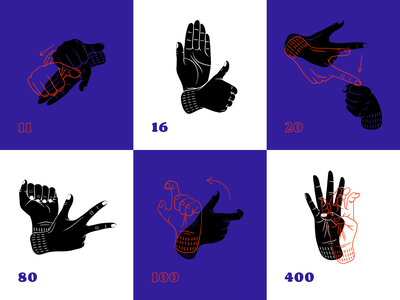 Give me a sign! number numerals hands arrangement numbers hand arrangements sign language language sign photoshop hand deaf poznan illustrator poland red blue illustration design