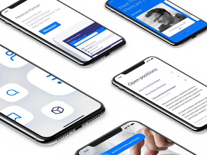 Memcare Mobile Web typography website product ux ui mobile iphonex design web