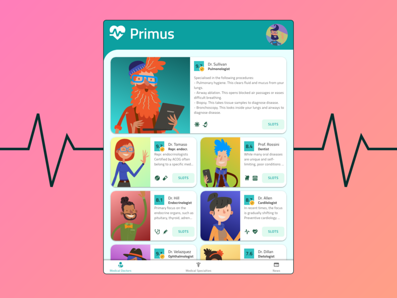 Primus - a medical mobile service telemedicine doctor appointment health medical clear material flat simple clean indigo.design ui ux design