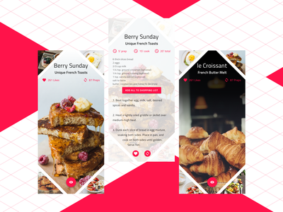 Sunday Morning breakfast desserts cooking recipes lifestyle codegen 2d angular material design clean design flat  design ux ui indigo.design design