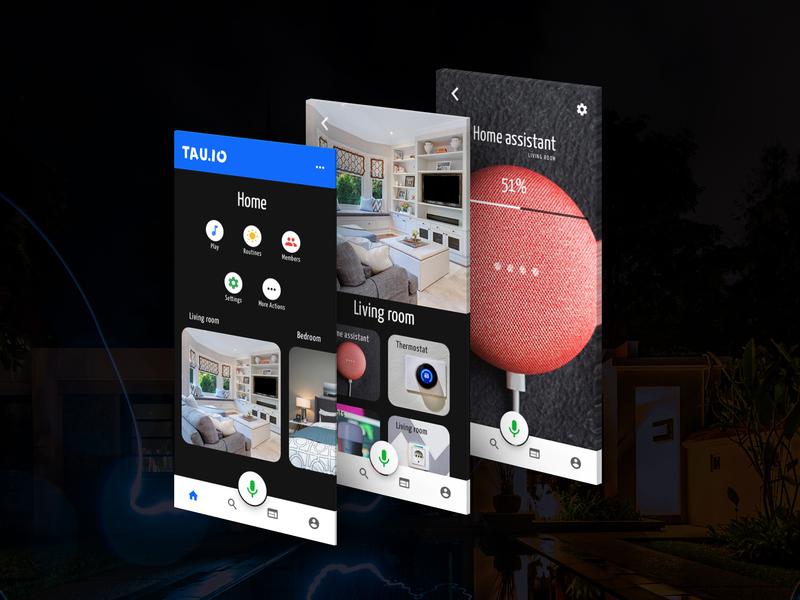 TAU.IO Home Automation mobile mobile app design smart home home automation clean design 2d material design flat  design ui ux indigo.design design