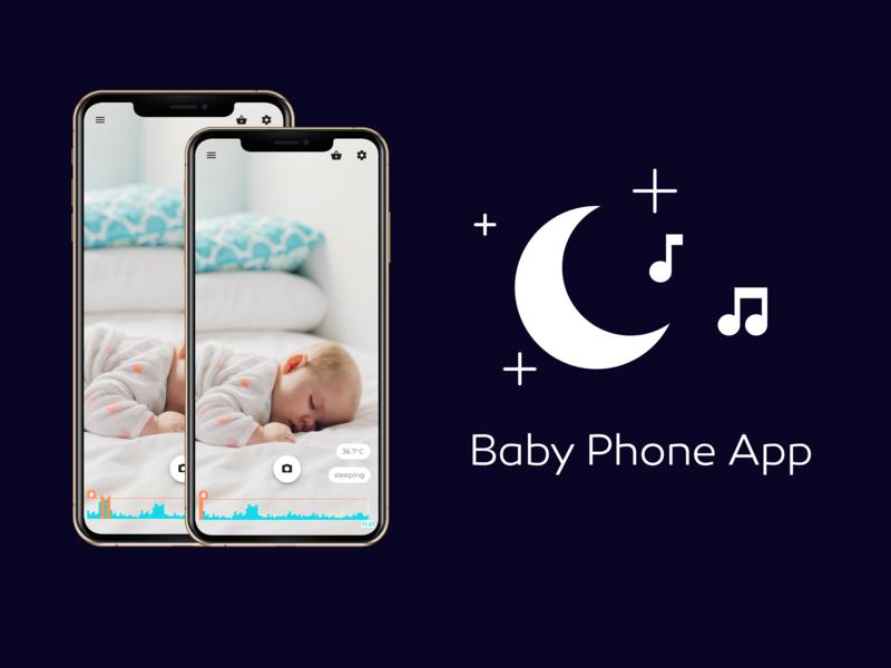 Baby Phone App live video monitoring baby app video app clean design 2d material design flat  design ui ux indigo.design design