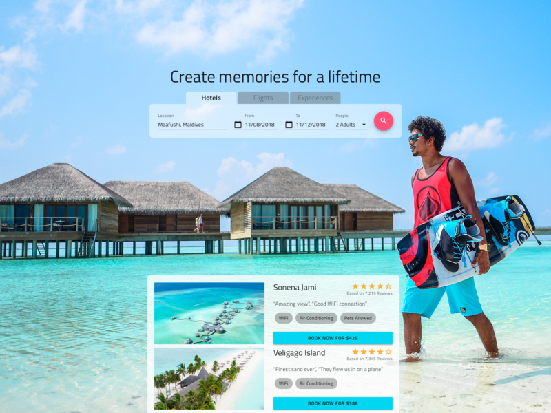 Holiday Booking adventure exotic travel holiday bookings immersive vivid design website web flat clean ui ux