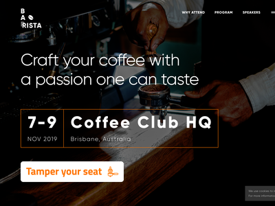 Become a Barista hero section event conference website barista coffee dark ui desk flat ux ui material simple clear clean