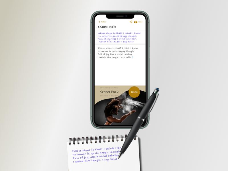Smart Scribe Pen figmadesign figma note sketching pen writing scribing design ux ui flat simple material clear clean minimal