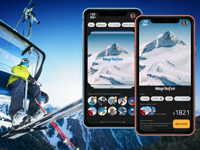 Snow Retreats recreation travel sport wintersports winter snowboard ski figma design material simple clear clean flat ui ux