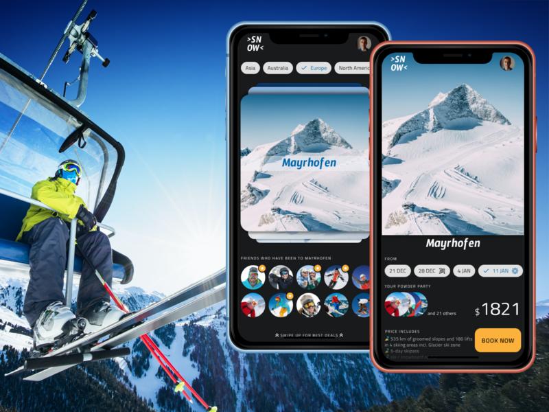 Snow Retreats recreation travel sport wintersports winter snowboard ski figma design material simple clear clean flat ui ux