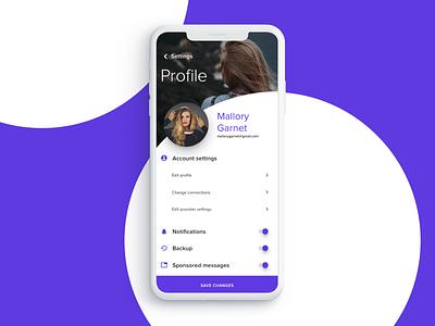 Account settings purple mobile app account settings infragistics indigo.design uid uiux mobile account