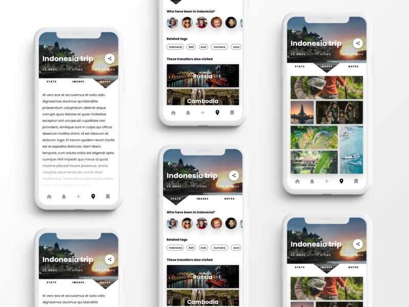 Travel Diary app codegen ui ux uiux design digital product tourist travel app indigo.design infragistics uiux travel