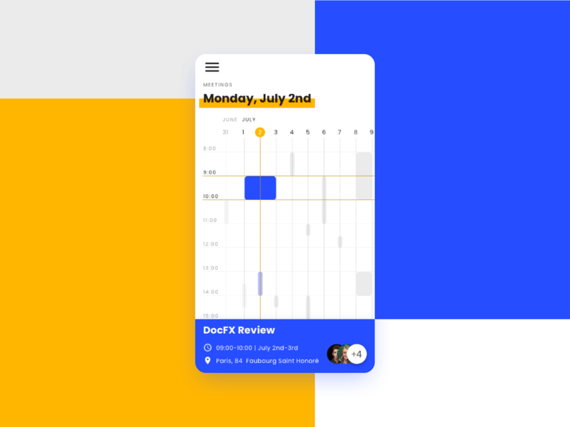 Mobile Meeting Planner sketch pattern mobile ui ux angular indigo indigo.design infragistics