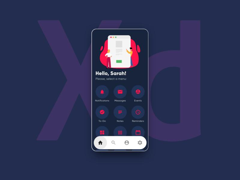 App Homescreen illustration mobile indigo angular infragistics ui adobe xd ux home screen home app