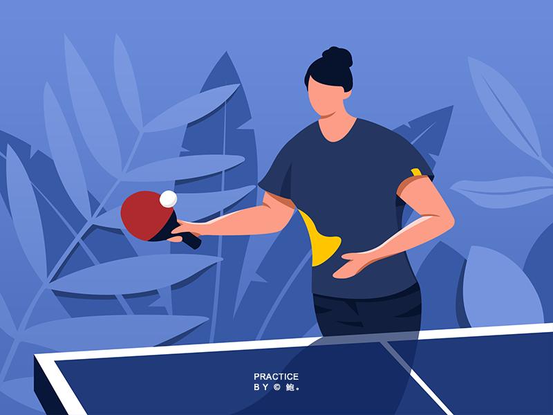 ping-pong exercise illustration ui design
