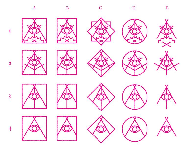 Campfire Conspiracy logo concepts logo process campfire conspiracy icon occult glyph symbol sigil fire eye tent