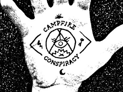 Campfire Conspiracy Poster campfire conspiracy punk pop punk occult symbols illuminati poster hand-made black and white
