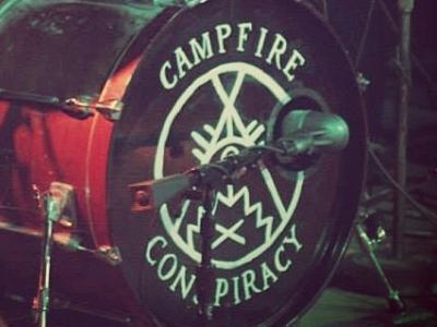 Campfire Conspiracy Bass Drum Logo campfire conspiracy hand painted drum punk pop punk occult symbols logo
