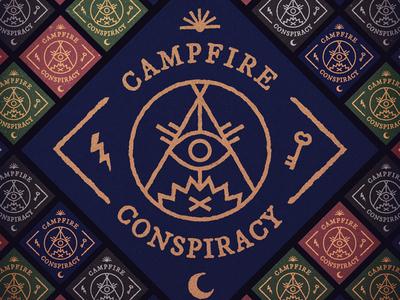 Campfire Conspiracy - Demo Cover campfire conspiracy pop punk occult symbols logo tent fire key bolt moon sun