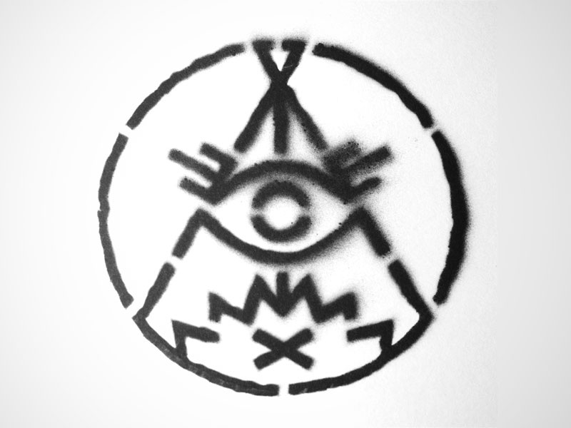 Campfire Conspiracy Stencil stencil campfire conspiracy logo icon occult eye fire teepee tent