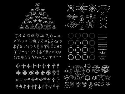 500+ Hand-Drawn Esoteric Vectors esoteric occult greyscale sigils skull triangle lightning bolt