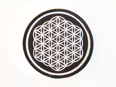 Flower of Life Patch spirituality black and white symmetry patch sacred geometry flower of life