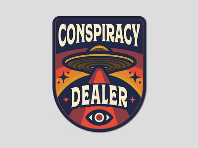 Conspiracy Dealer Patch flying saucer eye retro ufo badge patch conspiracy