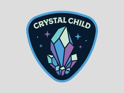 Crystal Child illustration stone gem diamond badge patch starseed amethyst quartz crystal