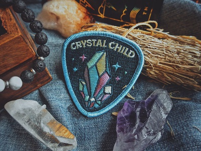 Crystal Child Patch illustration stone gem diamond badge patch starseed amethyst quartz crystal