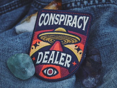 Conspiracy Dealer Patch occult earth space stars badge embroidered eye illuminati alien ufo patch conspiracy