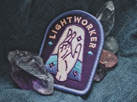 Lightworker Patch new age esoteric spiritual healing hand badge patch embroidered quartz amethyst crystal lightworker