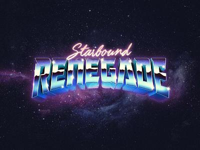 Starbound Renegade 3d synthwave retro punk metal starseed stars branding 80s logo typography chrome