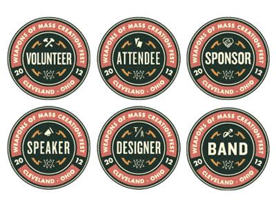 WMC Fest Badge Collection badge emblem wmc fest cleveland weapons of mass creation logo mark symbol seal