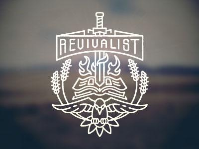 Revivalist revivalist ministries dove sword bird wheat book bible logo icon illustration emblem line art