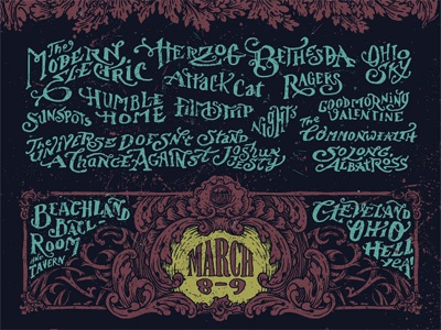 Band Names hand lettering band names cellar door rendezvous ornate cleveland poster typography
