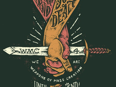 WMC 4 Artwork hands sword hand drawn wmc fest weapons go media cleveland lettering typography stippling illustration
