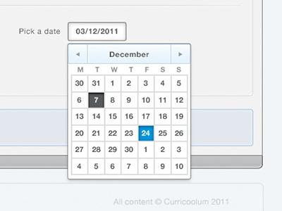 Curricoolum – Date picker web app form forms web ui user interface design ui design calendar date picker