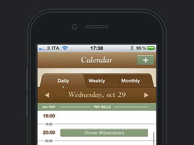Save The Mom V1 – iPhone Calendar iphone mobile ui mobile user interface user interface design ui design calendar tabbed navigation tabs