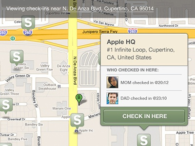 Save The Mom V1 – iPad Check-In ipad mobile ui mobile user interface user interface design ui design check-in geolocation