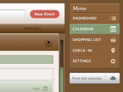 Save The Mom V1 – Web Calendar web app web ui user interface design ui design calendar tabbed navigation tabs sidebar