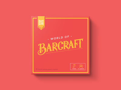 Barcraft Drinking Game flat typography branding logo vector design box drink bar warcraft red package design packaging package