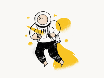 Stand out from the rest illustration draw drawing hand made yellow fly flying rocket graphics rough handmade illustration