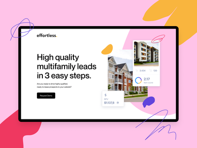 Effortless Quick Website Concept flat illustration handrawn handmade lines messy bright pink shapes coloful design